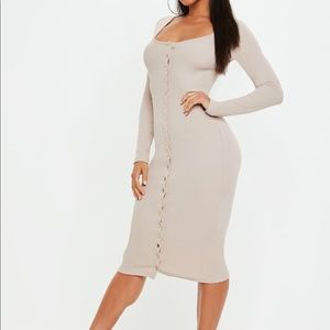 Natural sand ribbed popper bodycon dress